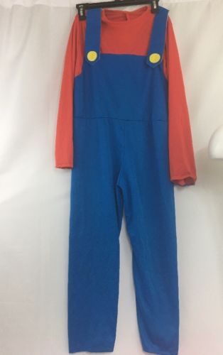Super Mario Costume Kids  Mario Bros Brothers Halloween Fun Size L 12/14
