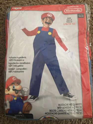 NEW Kids Super Mario Costume/dress up  Large (10-12)