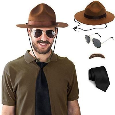 Tigerdoe State Trooper Costume - State Trooper Hat, Mustache, Tie & Glasses - (4