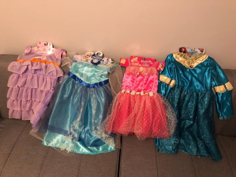 NEW DISNEY PRINCESS COSTUME DRESS UP LOT 4 -ELSA BARBIE MERIDA FANCY NANCY- 4-6X