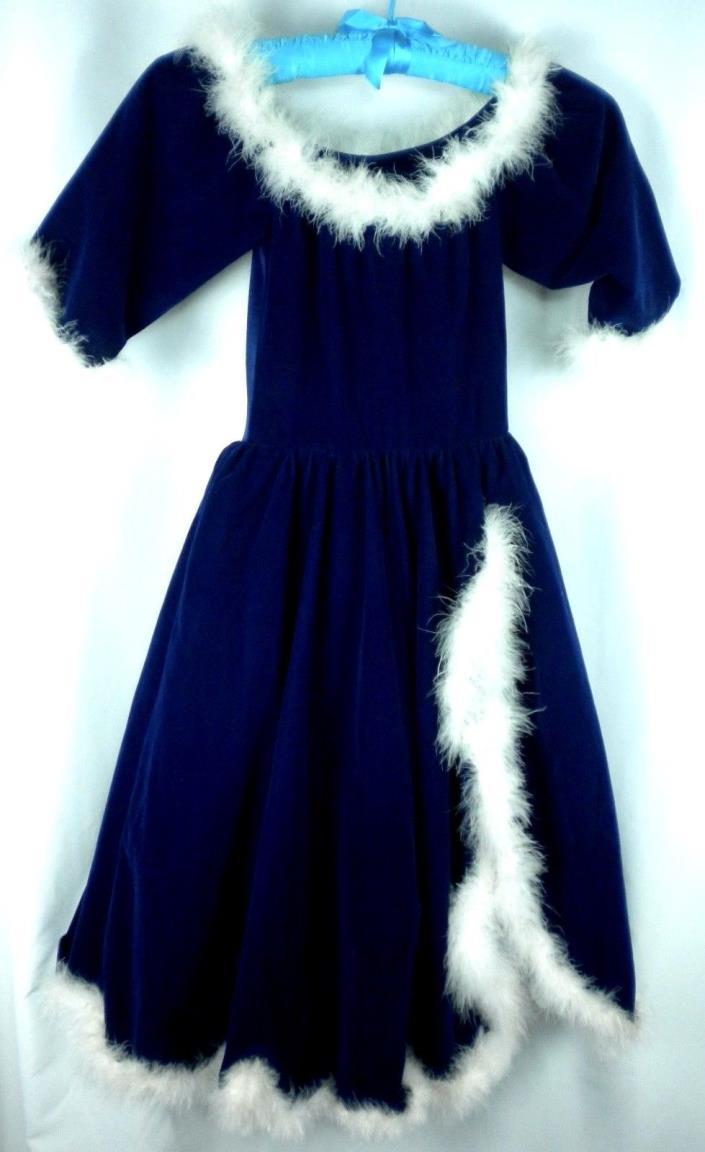 Puppet Workshop Ballgown M Child Costume Blue Velvet Ostrich Trim Princess