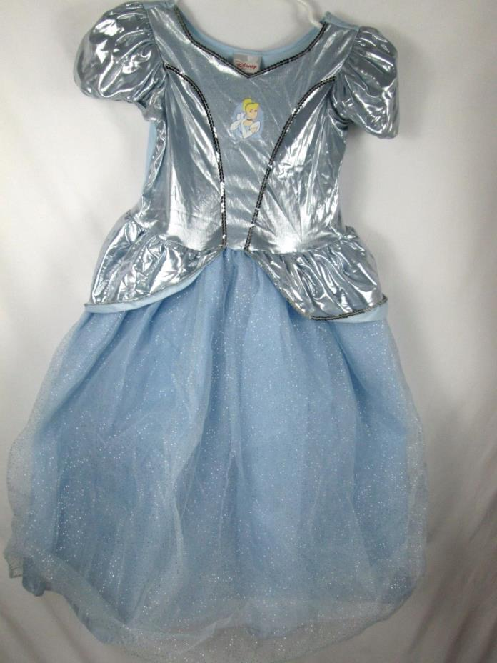 Disney Store Cinderella Blue Costume Dress/Gown Halloween sze 7/8 Sequin glitter