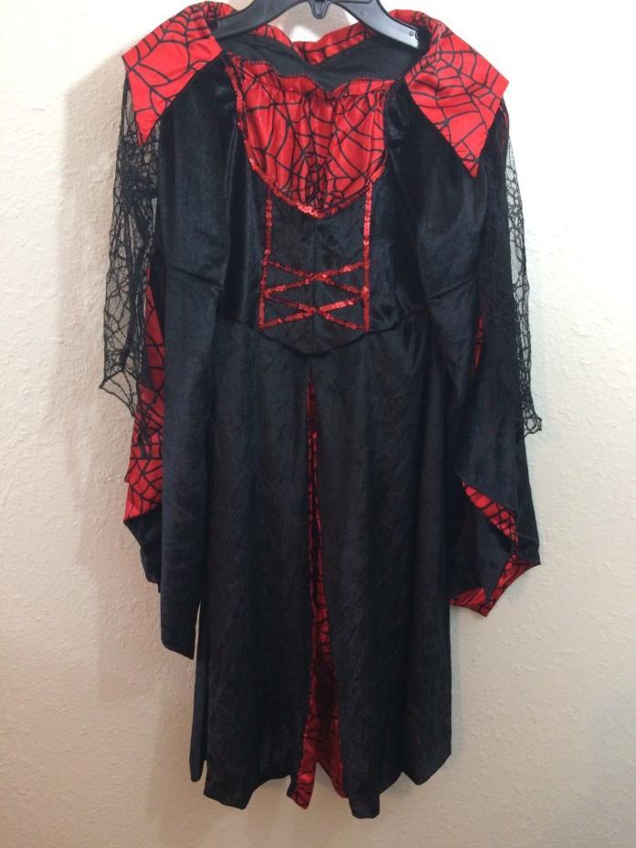 Vampire Costume Girls Costume Size 6-8 Black Velvet Red Satin Lace Sleeves