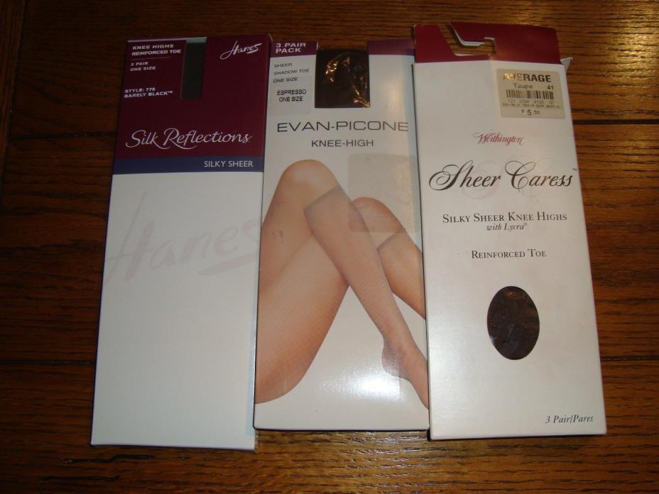 7 pairs of Women's Knee Highs - Silk Reflections, Evan-Picone, Worthington - New