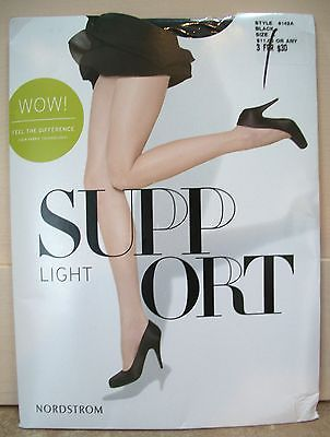 626   Nordstrom LIGHT SUPPORT Black Nylon Panty Hose A