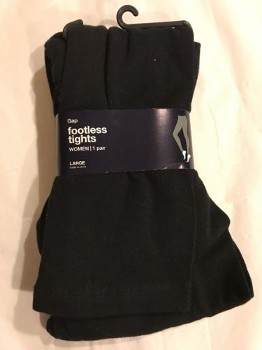 Gap Women's Cotton Footless Black Opaque Tights, Size  large -NEW
