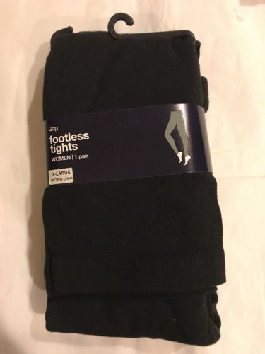 Gap Women's Cotton Footless Black Opaque Tights, Size  X-large -NEW