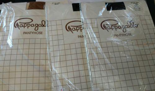 Pappagallo vintage 2-black 1-beige nylon pantyhose size B style 5000 vtg 5'3-5'6