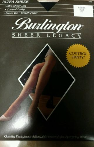 Burlington ULTRA Sheer LEG  Legacy Control Pantyhose MEDIUM Black T91