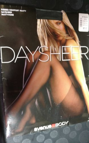 AVENUE BODY PLUS Size B DAYSHEER PANTYHOSE RIBBED PANTY jet black New