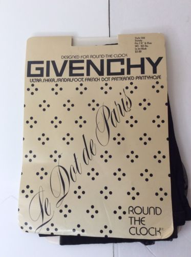 Vintage Givenchy French Dot Patterned Pantyhose Hosiery Black Stately Style 566