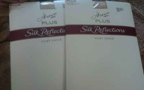 2 pk Hanes Silk Reflections Plus Pantyhose Travel Buff SIZE TWO PLUS STYLE 00P15