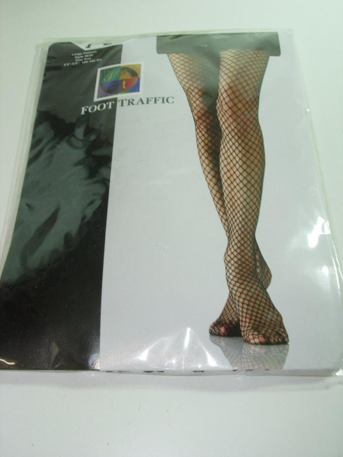 WOMENS NEW BLACK LARGE FISHNET LEG TIGHTS STOCKINGS PANTYHOSE NYLONS ONE SIZE