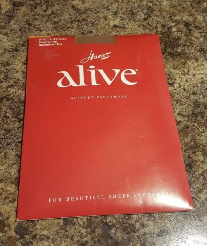 Hanes Alive Full Support Reinforced Toe Barely There Sheer Pantyhose, B #810