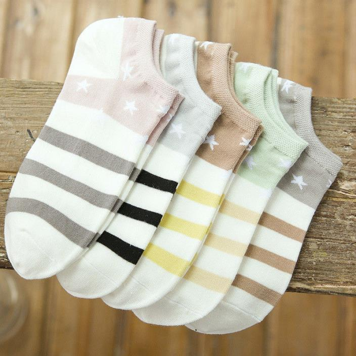 Cotton Boat Socks Woman Stars Stripe Socks ankle low