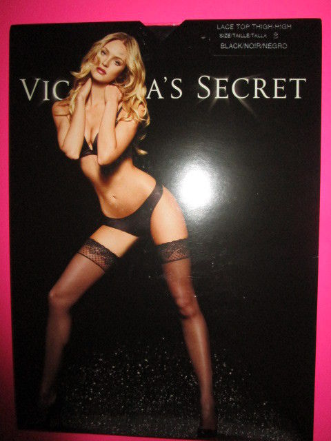 VICTORIA'S SECRET  Lace Top Thigh-High Stockings ~ Sheer Black ~ Size B ~ NWT
