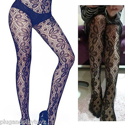 Women's Black Lolita Stockings Oval Floral Sheer Net Lace Tights Full Pantyhose
