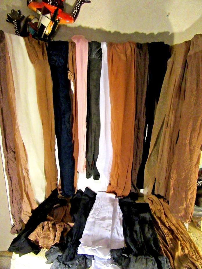 Large Lot of 16 Panty Hose 3 Pr Knee Highs 4 Pr. Thigh Highs For Crafts