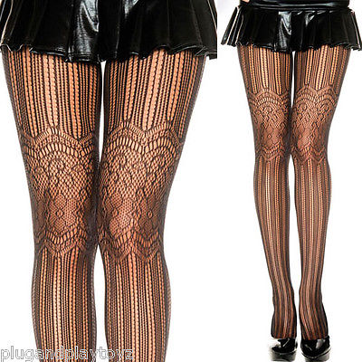 Women's Black Stockings Striped Net Floral Lace Garter Tights Full Pantyhose OS