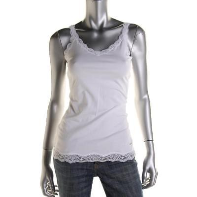 DKNY 0450 Womens White Lace Trim Fitted V-Neck Camisole Top M BHFO