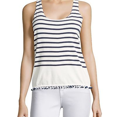 NEW SUNDRY WOMENS STRIPED POM-POM HEM COTTON TANK TOP