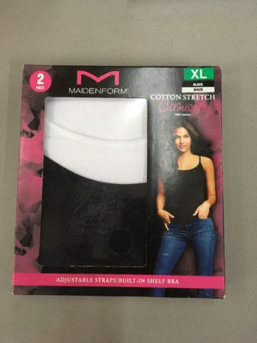 Maidenform 2- Pack Cotton Stretch Camisole XL BLACK/WHITE.