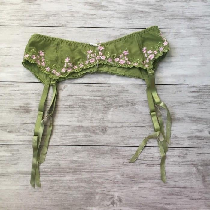 VICTORIA'S SECRET Green Apple & Pink Floral Lace Garter Belt~Size L
