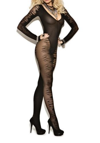Long Sleeve Jacquard Body Stocking Sheer Black New Women's One Size 8888
