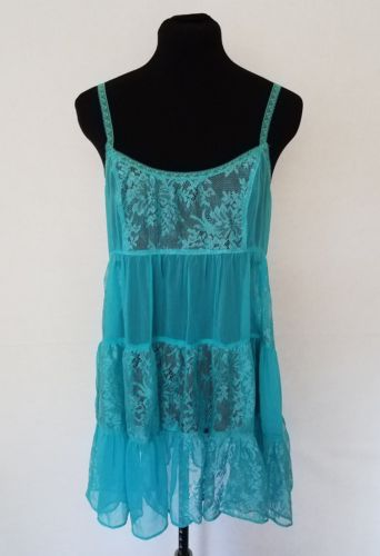 Intimately Free People Womens Small Slip Dress Blue Sheer Lace Nightgown Tier