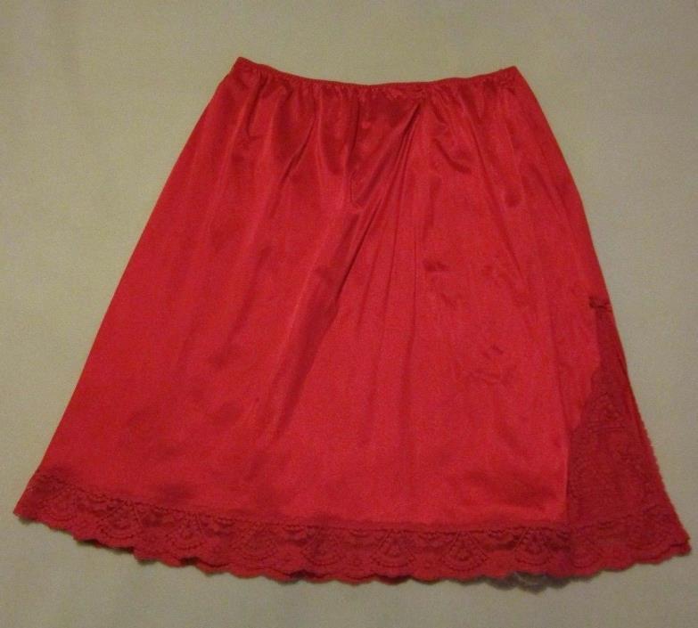 Vassarette Vintage Satinessence Red 100% Nylon Lace Trimmed Half Slip - Size 3XL
