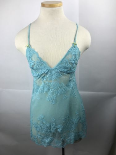 Woman's Baby Blue Victoria Secret Slip Lingerie Night Gown Size Medium Lace