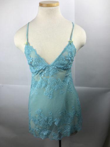Woman's Baby Blue Victoria Secret Slip Lingerie Night Gown Size Medium Lace