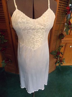 Vintage Vanity fair White 36 Lacy Split in back Slip