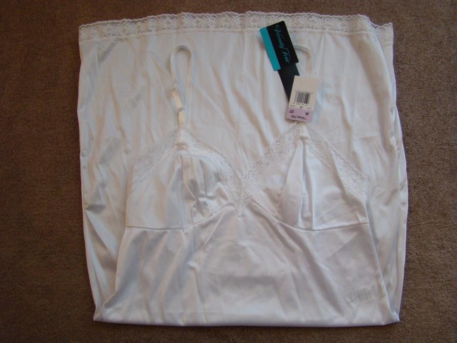 Vintage New Vanity Fair White Full Slip Sz 36/6 Lingerie Lace Trim  Knee 22