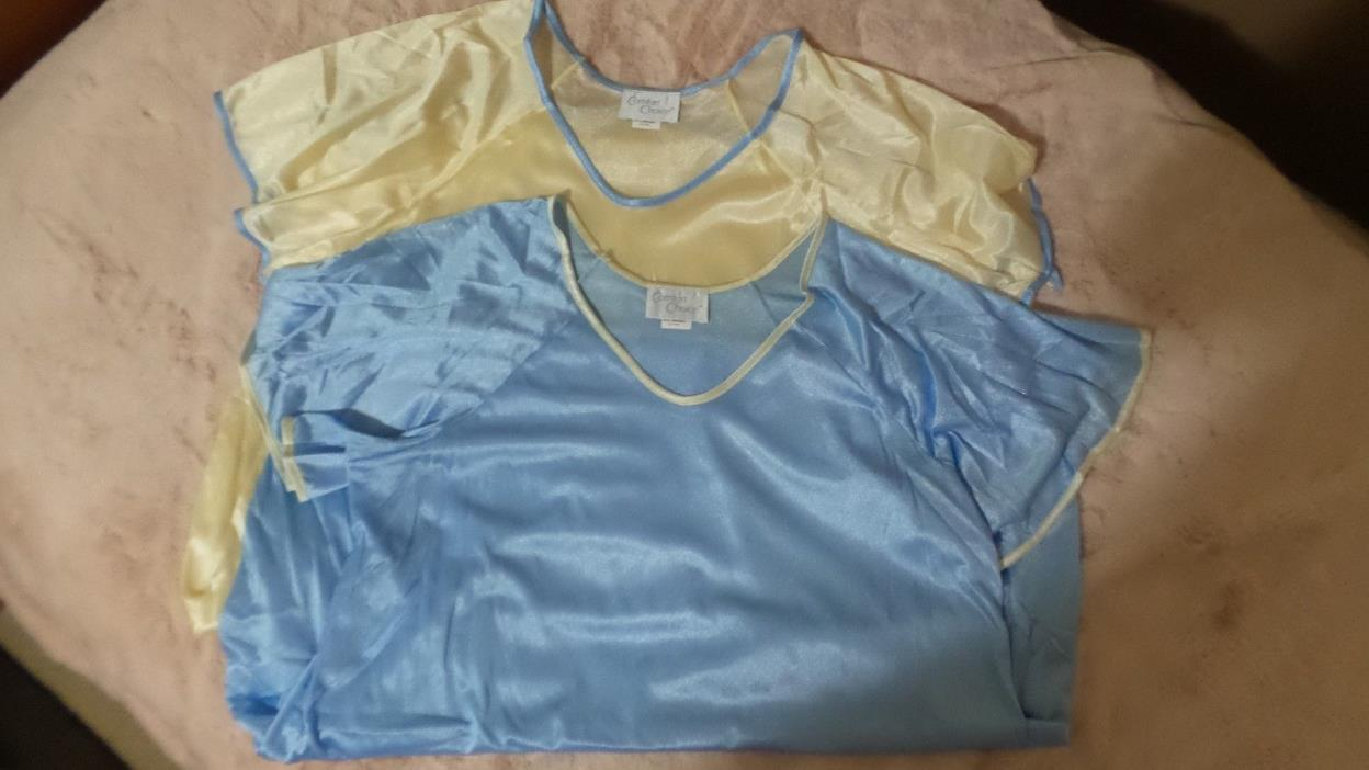 Comfort Choice Nightgowns Brand New Faux Silk Satin Size Medium Package of 2