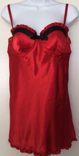 flora red babydoll slip black bow trim frilled  SZ Large New