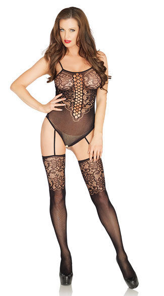 Leg Avenue Seamless Floral Lace Crotchless Gartered Teddy W/ Stockings 89196