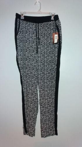 New $45 Pazza Bella Size 1X Women's Lounge Pants Black/White Elastic Drawstring