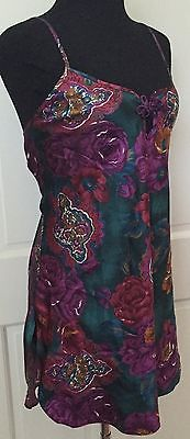 California Miss Multi-Color Floral Teddy SZ M Soft Satiny Lingerie Baby Doll