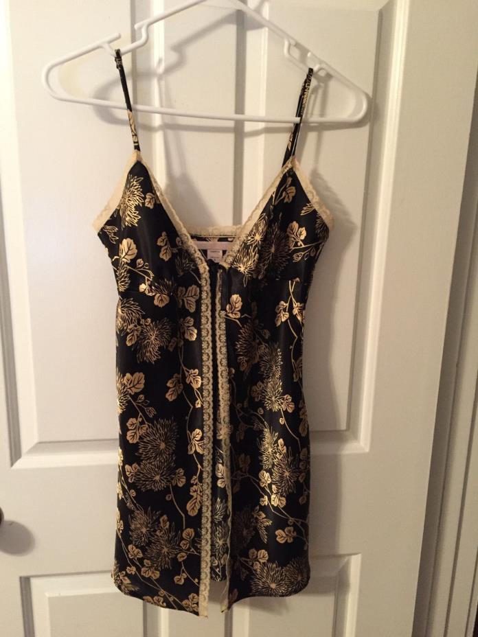 Victoria's Secret  NEW Black & Gold Floral Front Tie Babydoll Chemise Satin Sz S
