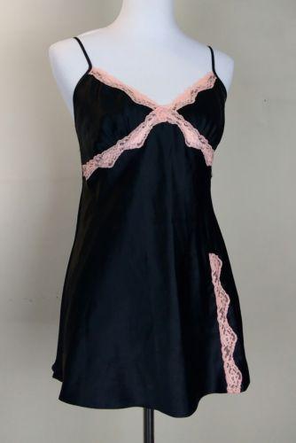 Victoria Secret Black w/ Pink Lace Intimate Sleepwear Size M