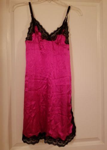 la senza pink and black lace trim chemise, xs, nwot