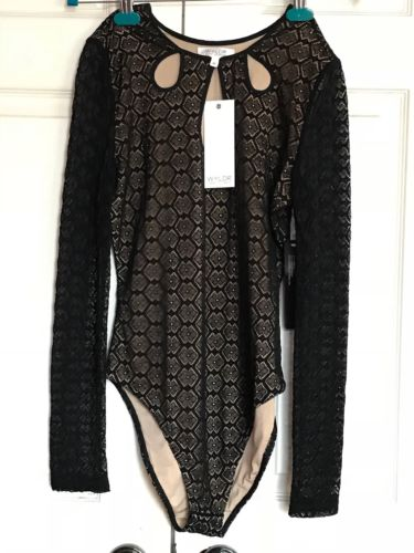 NWT WYLDR Bodysuit Size M Dancewear Black Beige Lace New