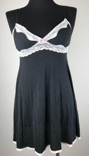 Victoria's Secret Lingerie Night Gown Teddie Size M Black White Lace Soft EUC