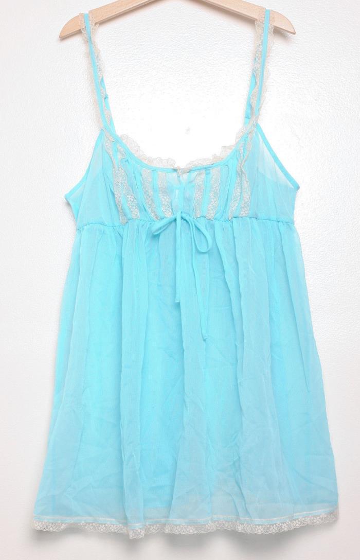 VICTORIA'S SECRET Women's Sz M Lingerie Teddy Sheer Lace Top Light Blue