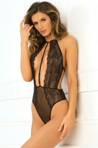 Rene Rofe Hot Pursuit Lace Bodysuit Fetish Lingerie Black M/L 502140