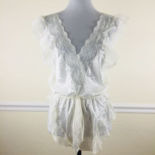 Morgan Taylor Fantasies Teddies Lingerie Suit Sz Medium White Satin Lace USA Vtg