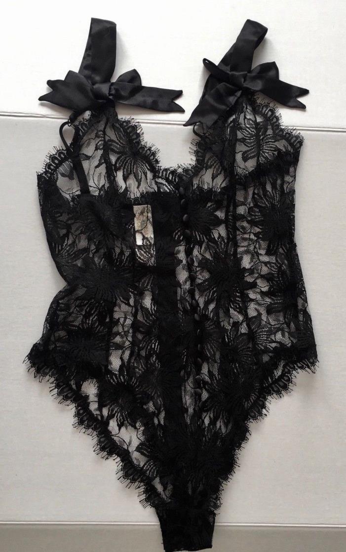 VTG Victorias Secret Black Lace Satin Teddy Zipper Buttons Bows Lingerie Small
