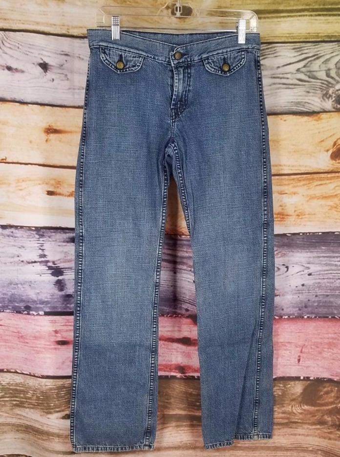 Lucky Brand Womens Blue Denim Jeans Snap Button Zip Sz  6/28 Dungarees