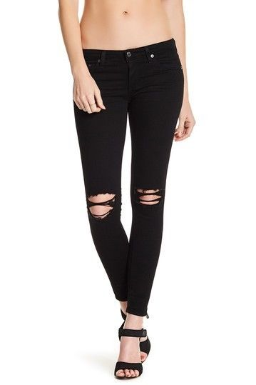 New  $225 AG Distressed Super Skinny black Jeans size 27